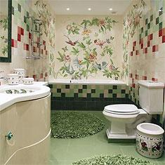 Дизайнерская ванная в зеленых тонах