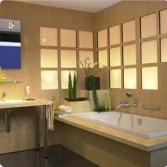 Дизайн ванной со стеклоблоками