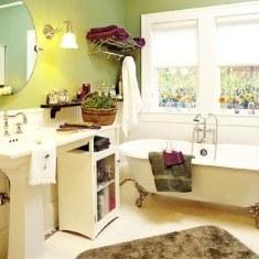 Дизайн симпатичной ванны с крашеными стенами