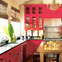 Small kitchen in red