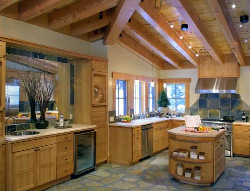 Дерево и камень на кухне