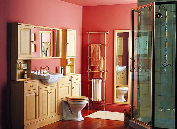 Дизайн красной ванной комнаты с душевой кабиной