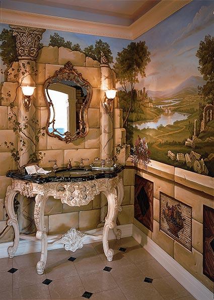 Сказочная ванная комната с росписью по стенам