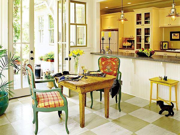 Кухня с верандой и барной стойкой