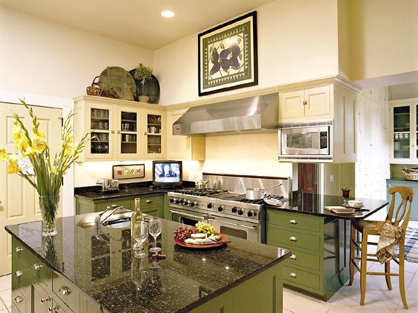 Kitchen design in green colours