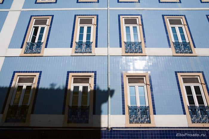 Фасад из голубой плитки