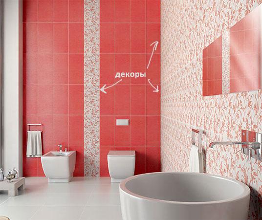 Пример использования декора в качестве самостоятельного  элемента и как основа для стены