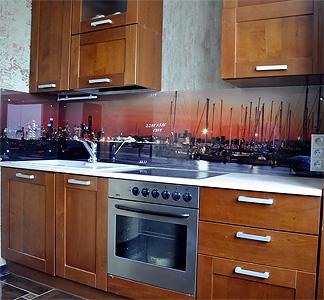 Фотопечать на стекле. Кухонный фартук из стекла. Пример. Фото.