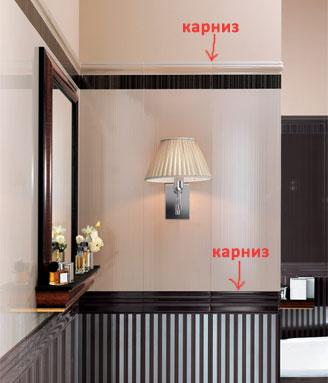 Пример использования карниза в интерьере. Интерьер ванной комнаты