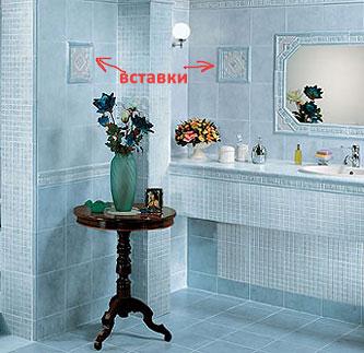 Пример вставок. Интерьер ванной комнаты от АВК